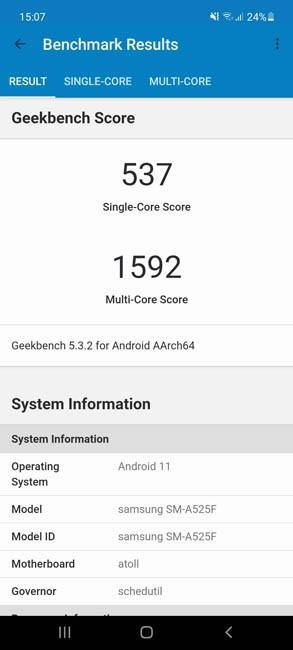 Samsung Galaxy A52 Geekbench 5