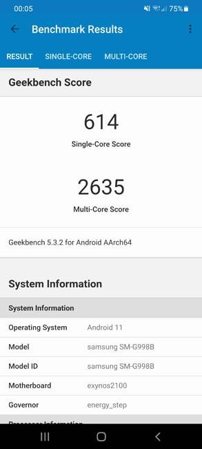 Samsung Galaxy S21 Ultra Geekbench 5