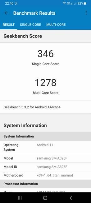 Samsung Galaxy A32 Geekbench 5