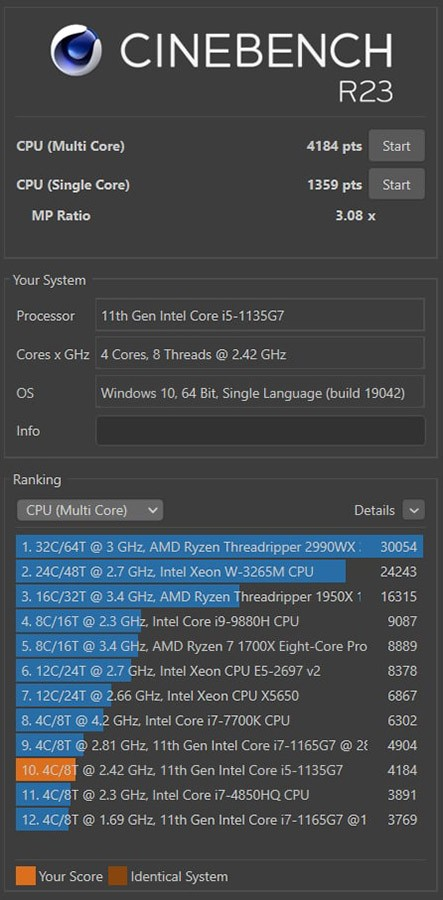Cinebench R20 Honor MagicBook 15 Multi