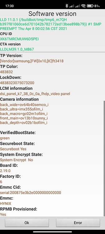 Модели камер Redmi Note 10S