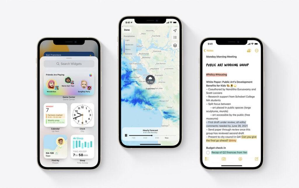 Заметки и Погода в iOS 15