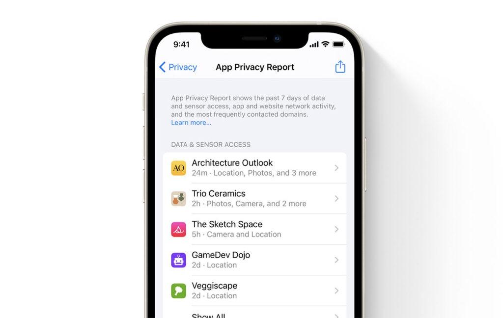 Отчет о конфиденциальности iOS 15