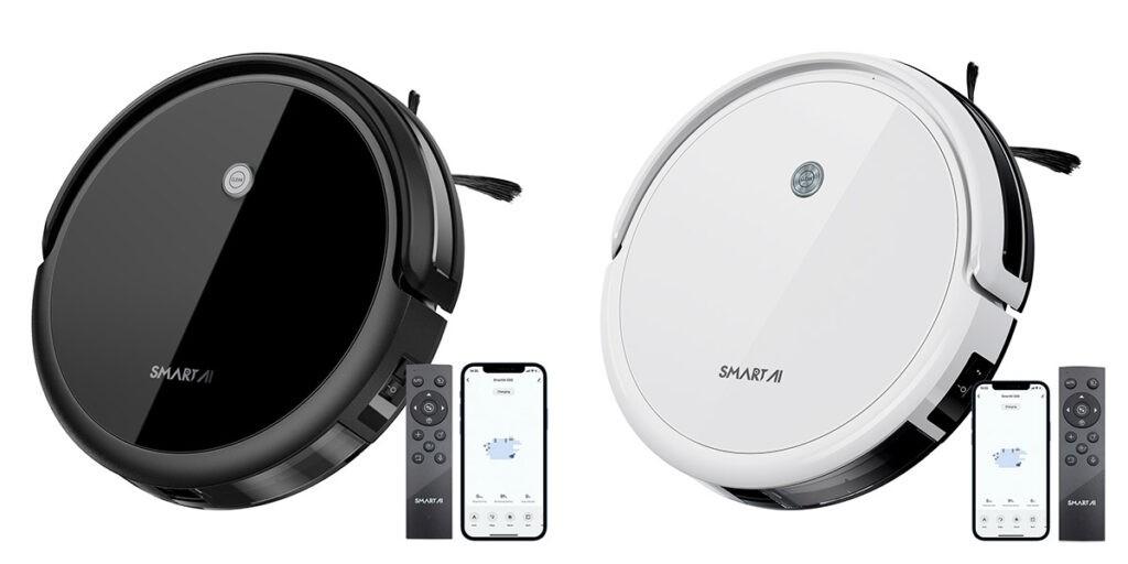 Черный и белый робот-пылесос SmartAI G50