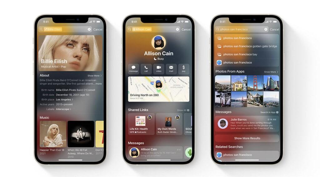 Spotlight на iOS 15 в FaceTime