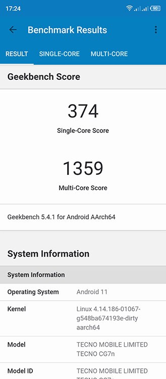 Geekbench 5 Tecno Camon 17P