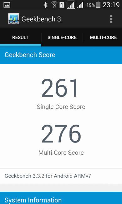 Geekbench 3 и Samsung Galaxy Star Advance SM-G350E