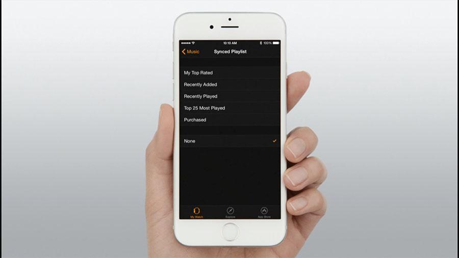 Меню плейлистов для синхронизации на iPhone
