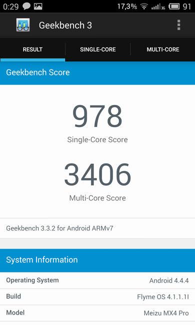 Geekbench 3 Meizu MX4 Pro