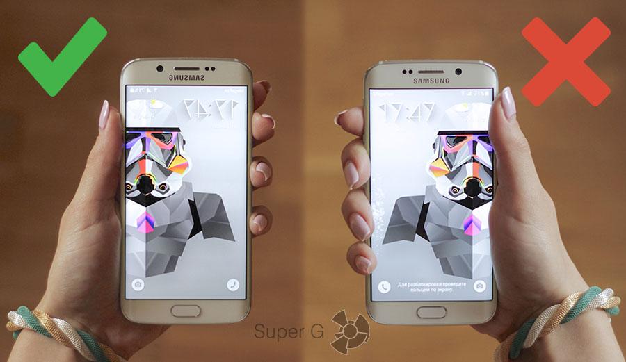 Как правильно держать Samsung Galaxy S6 Edge