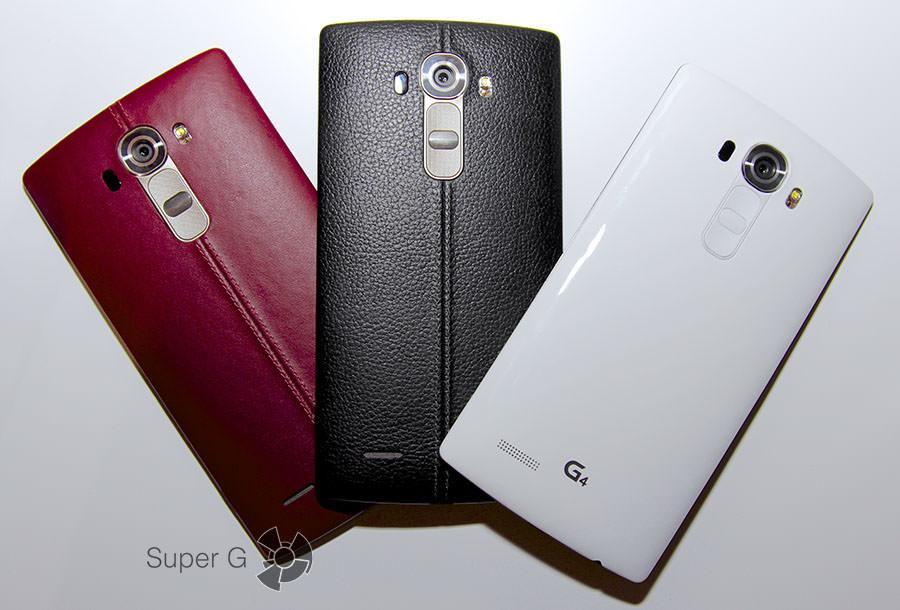 Красный, черный и белый LG G4