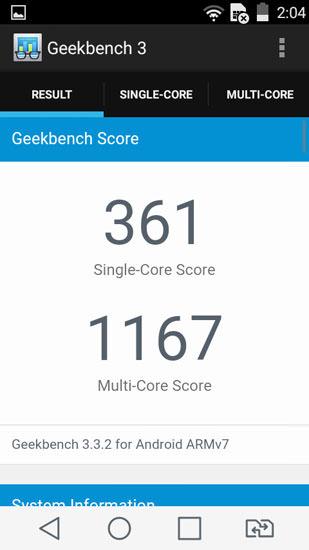 Geekbench 3 и LG Leon