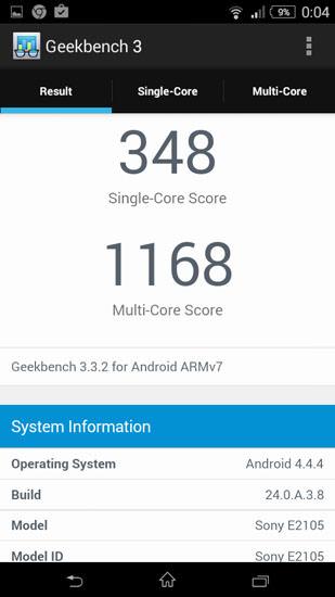 Sony Xperia E4 Geekbench 3