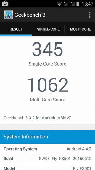 Geekbench 3 на Fly Nimbus 3