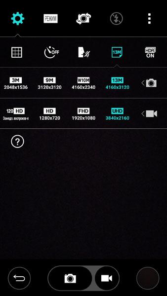Разрешение фото и видео LG G3