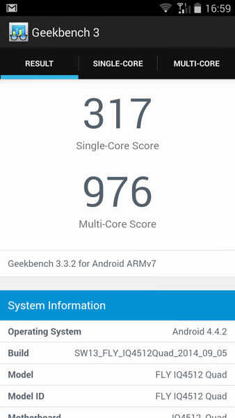 Тест Fly Evo Chic 4 в Geekbench 3
