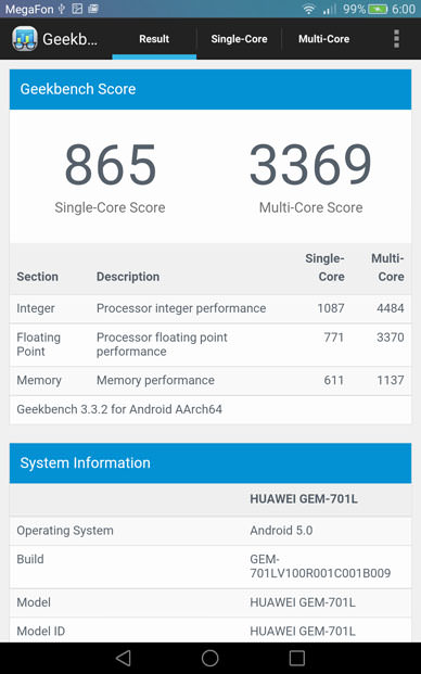 Тест Geekbench 3 на Huawei MediaPad X2