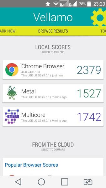 Тест Vellamo на LG G3
