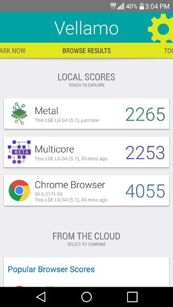 Тест Vellamo на LG G4