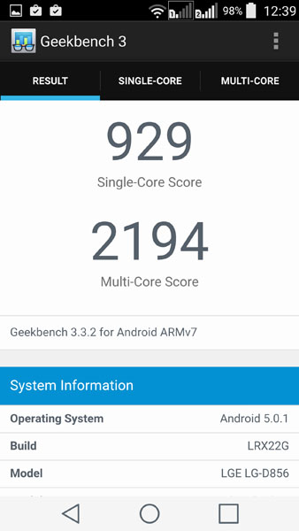 LG G3 в тесте Geekbench 3