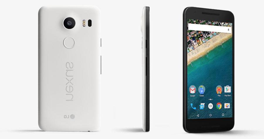 Белый смартфон Google Nexus 5X от LG
