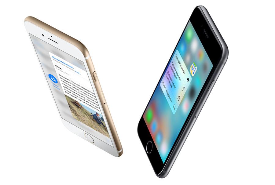 Золотой iPhone 6S и черный iPhone 6S Plus
