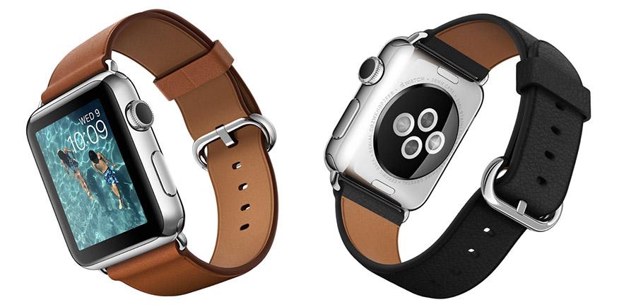 Классические Apple Watch с кожаным коричневым и черным ремешком