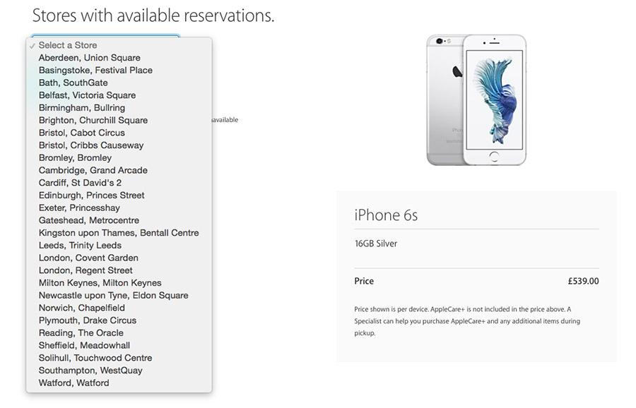 Список Apple Store в Великобритании с возможностью брони iPhone 6S копия
