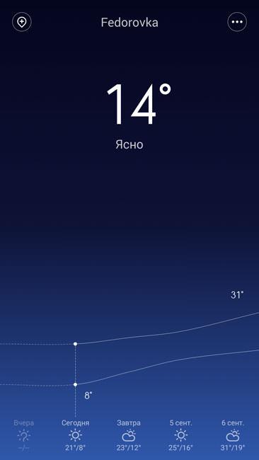 Штатное приложение погода