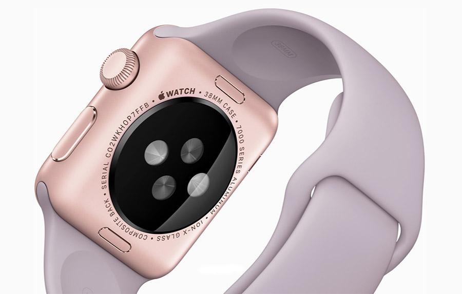 Apple Watch розовые с сиренивым ремешком