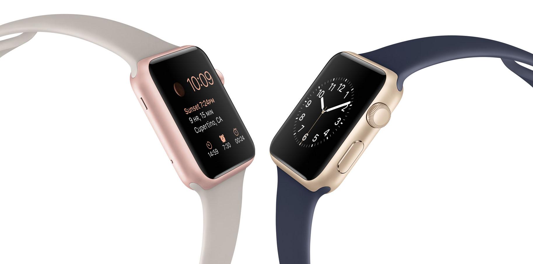 Apple Wath Sport розовые и золотые