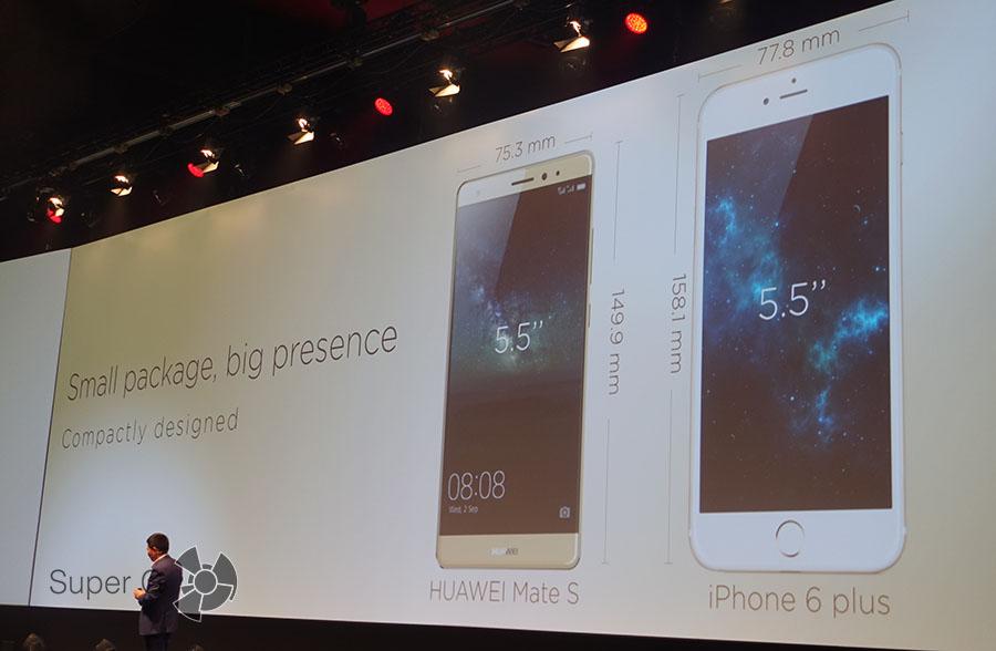 Сравнение размеров Huawei Mate S и iPhone 6 Plus