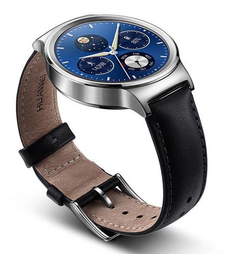 Huawei Watch из светлой стали и черный кожаный ремешок