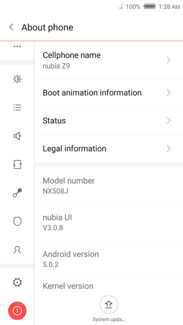Информация об устройстве ZTE Nubia Z9