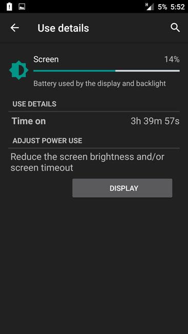 Время работы экрана OnePlusTwo