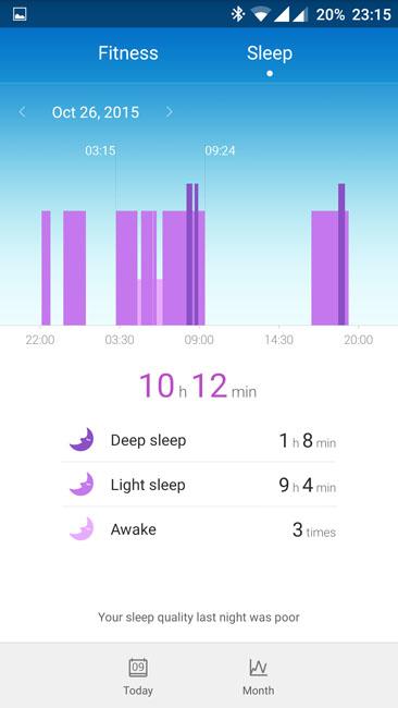 График фаз сна в приложении Huawei Wear