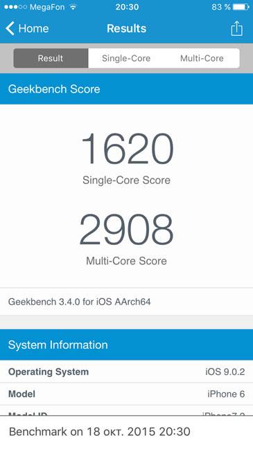 Тест iPhone 6 в Geekbench 3