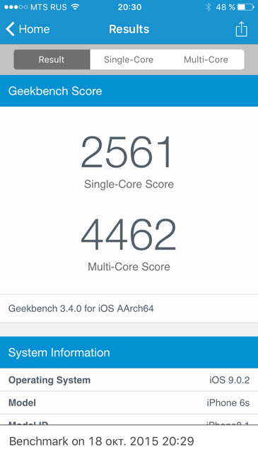 Тест iPhone 6S в Geekbench 3