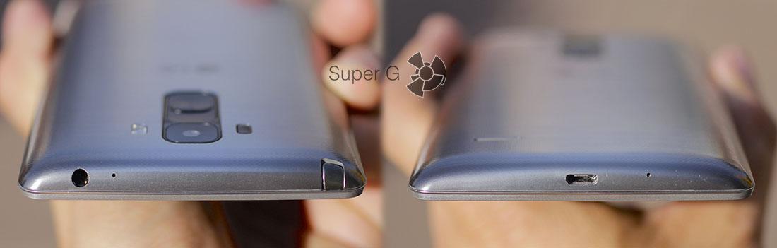 Верхний и нижний торцы устройства LG G4 Stylus