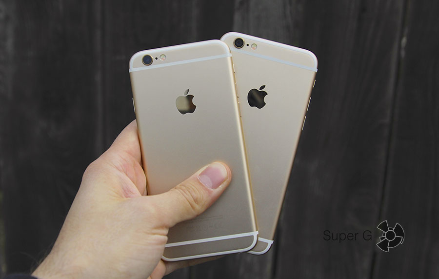 iPhone 6S и iPhone 6 в руках