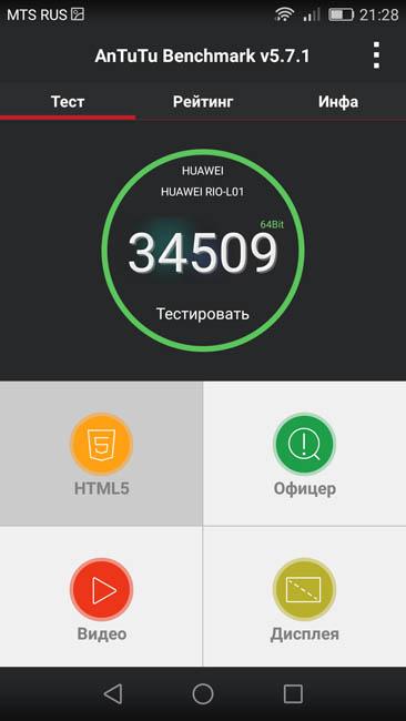 Производительность Huawei G8 в тесте AnTuTu