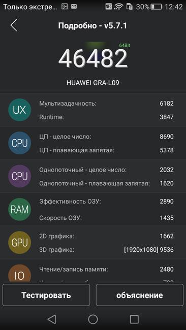 Результат системного текста Huawei P8 в AnTuTu
