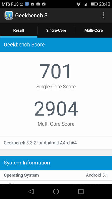 Тест Huawei G8 в Geekbench 3