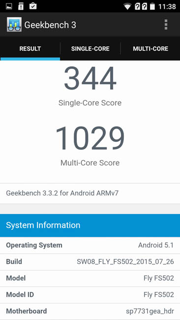 Geekbench 3 и Fly Cirrus 1