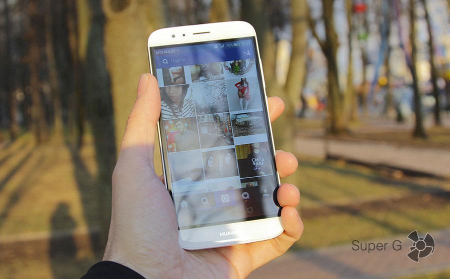 Дисплей Huawei G8 на солнце