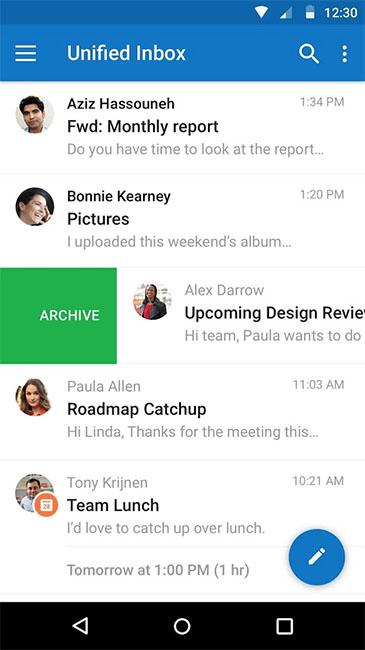 Интерфейс и управление почтой в Microsoft Outlook для Android