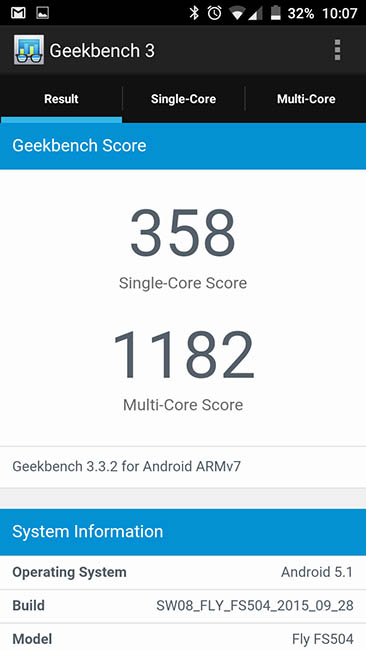 Тест Fly Cirrus 2 в Geekbench 3