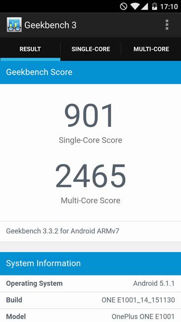 Тест OnePlus X в Geekbench 3