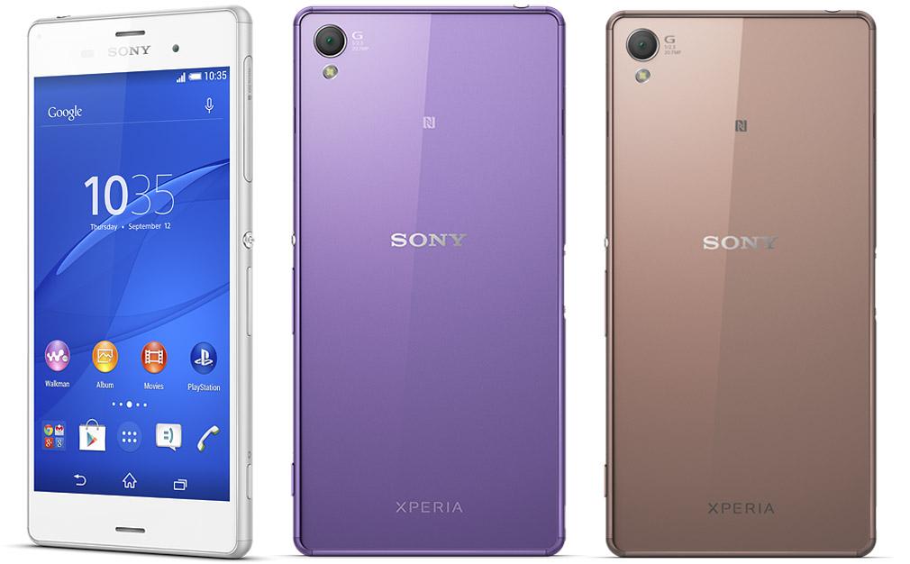 Белый, фиолетовый и бронзовый Sony Xperia Z3