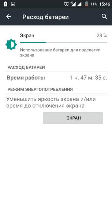 Время автономной работы Phicomm Energy 653 с включенным экраном